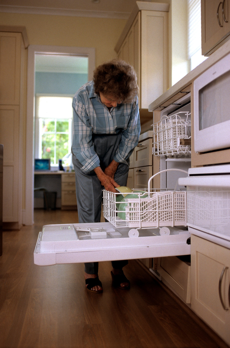This 2000 image depicted a universally-designed, raised dishwasher that was being loaded by an elderly woman, and though she was bent over,