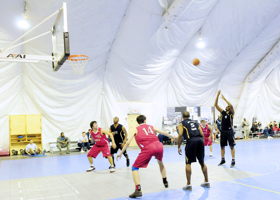 Transit Center Airmen compete against Kyrgyz in basketball game