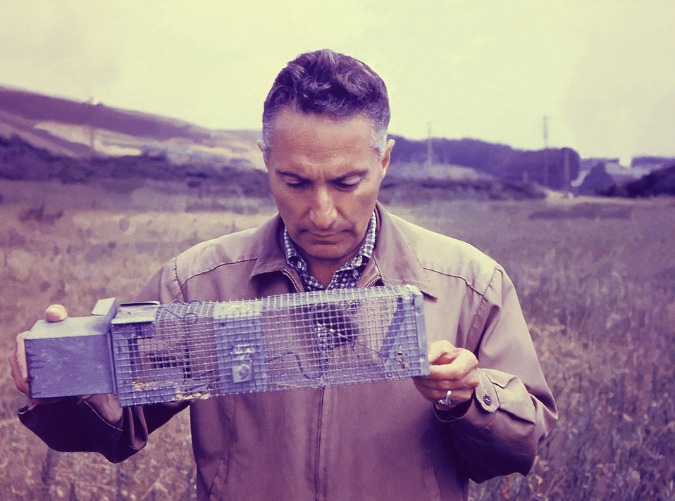 This historic 1956 image depicted Leo Kartman, ScD, public health scientist, collecting field data during a plague epidemiologic investigati