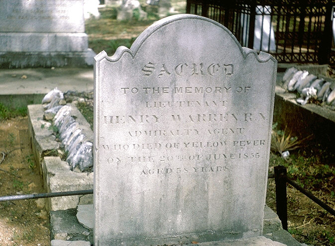 Tombstone of Henry Warren, R.N., who died of yellow fever in 1855.