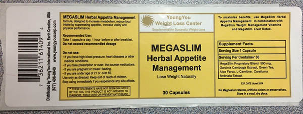 RECALLED – Mega Slim Herbal Appetite Management Dietary Supplement