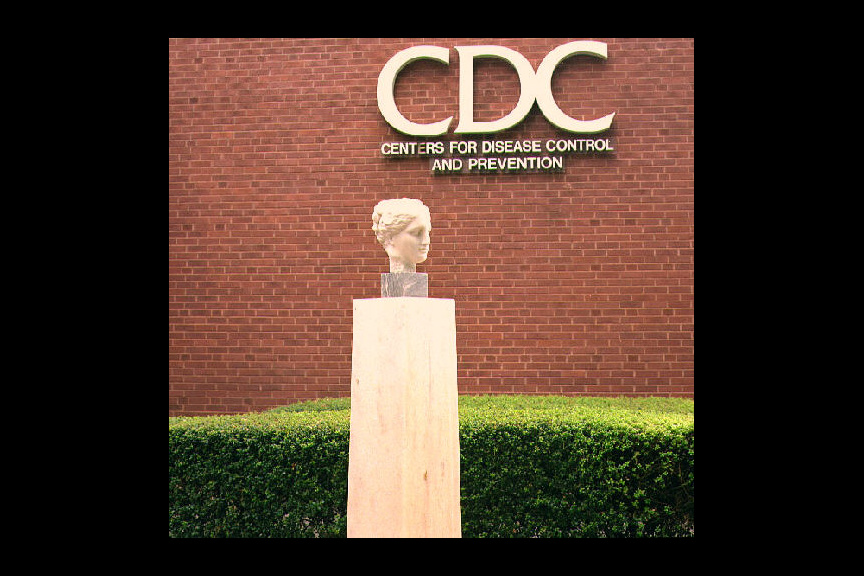 Bust of Hygeia in front of the former Building 1 on the Centers for Disease Control's (CDC) Roybal Campus in Atlanta, Georgia.