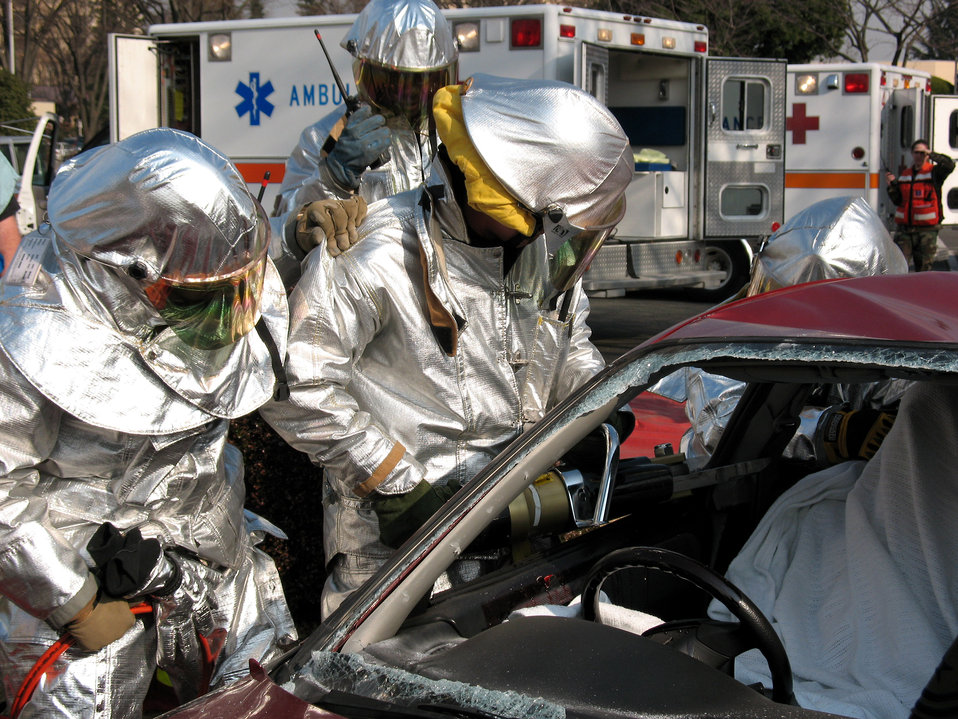 Emergency crews practice techniques in mock car crash