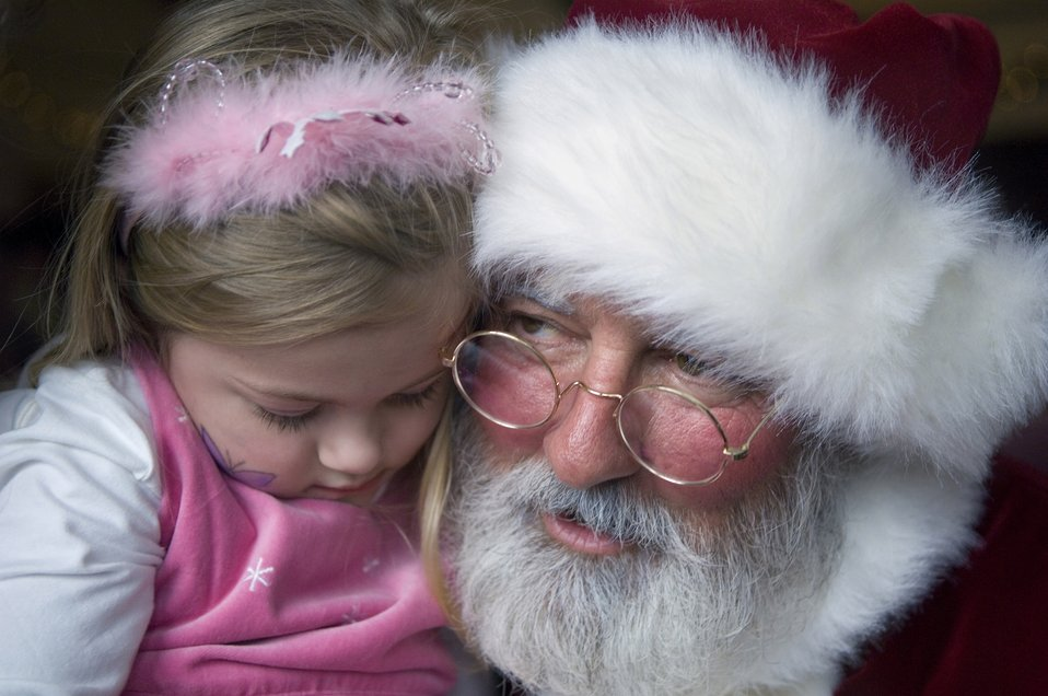 Santa and a young girl