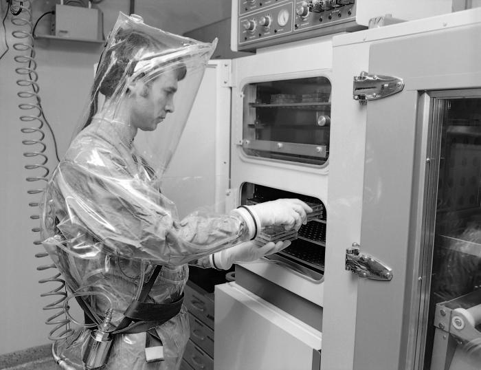 This 1978 photograph depicted Dr. J.V. Lange at a CO2 incubator that was located inside one of the CDC's early Containment Laboratories, als