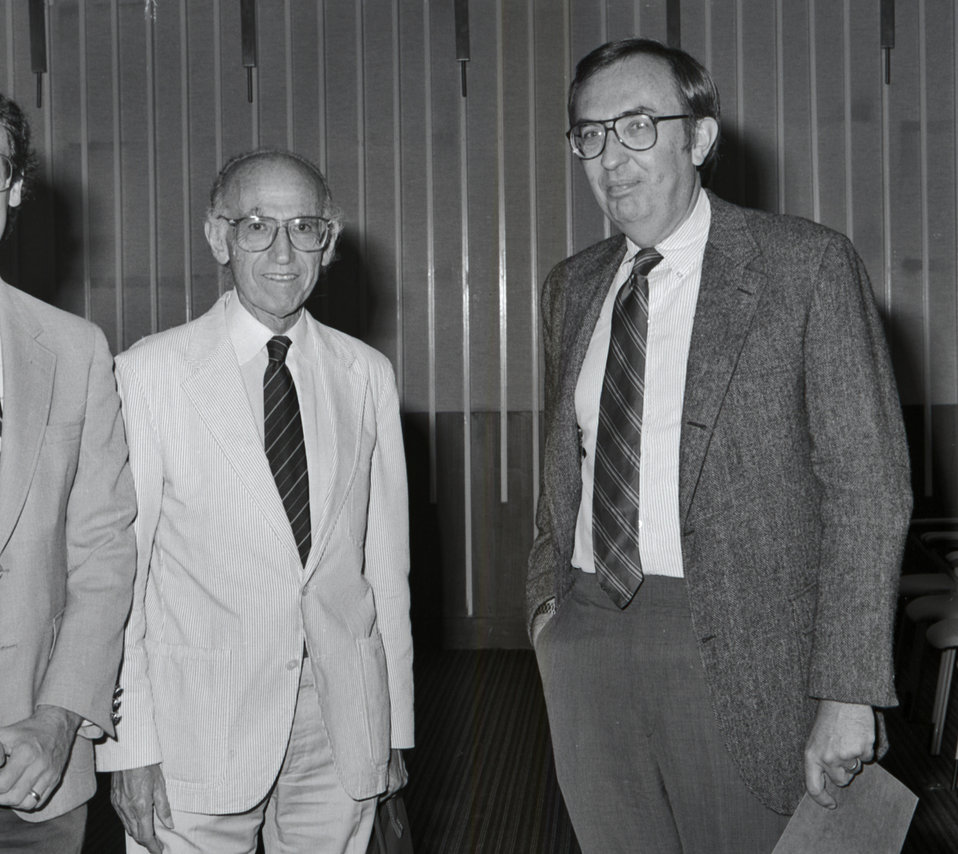 This 1988 photograph showed Dr. Jonas Salk (left), who introduced the first polio vaccine in 1955, and Dr. Frederick A. Murphy (right), form