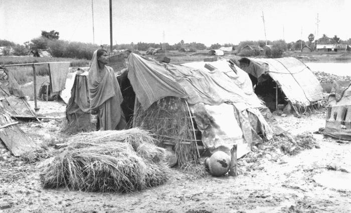 During smallpox eradication efforts of the 1970s, many people were displaced because to the lack of food, work, or as a result of flooding.