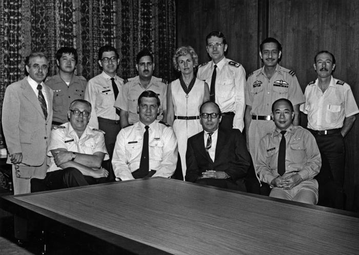 This photograph was taken at Brooks Air Force Base near San Antonio, Texas. The occasion was a meeting of aerospace physicians on May 14, 19