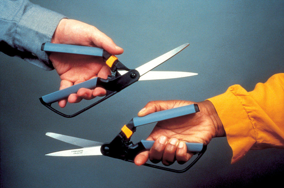 Manufactured by Fiskars�, these 'ambidextrous' scissors depicted in this 1996 photograph were unlike other scissors, for they were designe