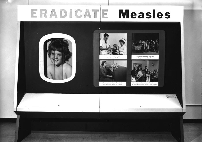 Measles immunization campaign poster.