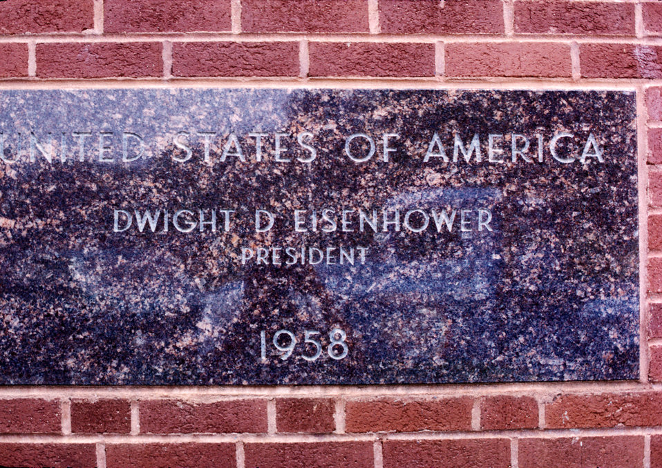 Dwight D. Eisenhower cornerstone on CDC, Building 1, Atlanta, Georgia.