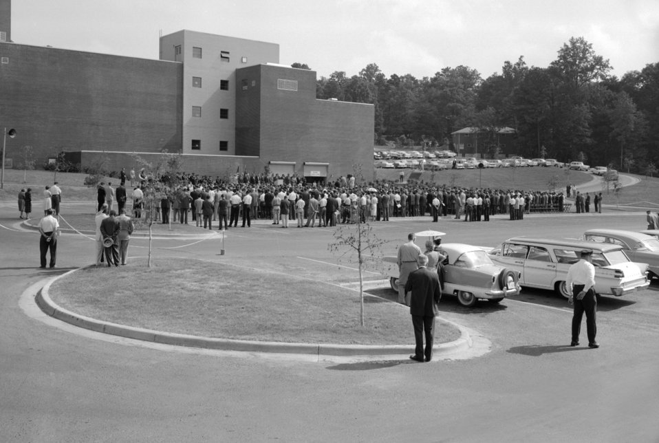 A 1960 CDC Dedication Ceremony looking at the rear of Bldg. 3.