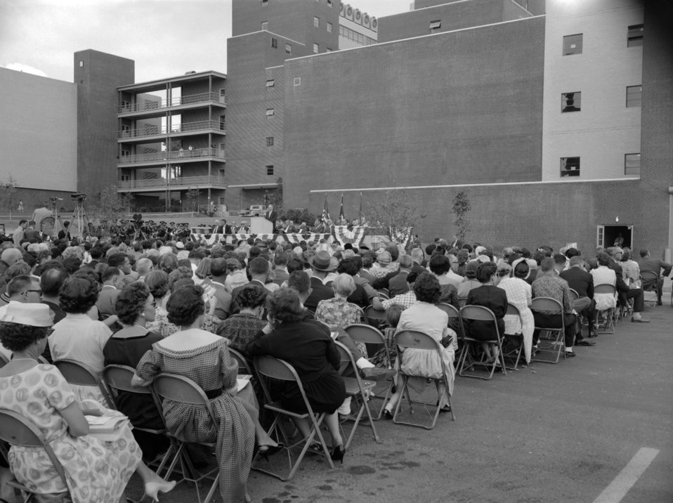 The 1960 CDC Dedication Ceremony, facing the rear of Bldg. 1.