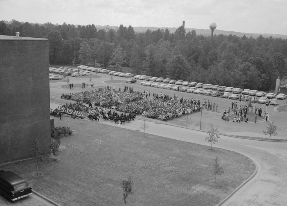 The 1960 CDC Dedication Ceremony with the audience seated behind Bldg. 1.