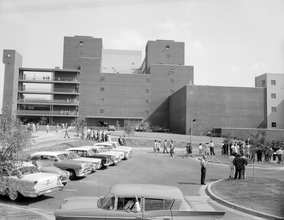 The 1960 CDC Dedication Ceremony facing the rear of Bldg. 1.