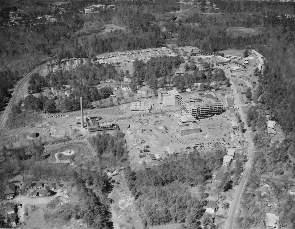 An aerial view (facing west) of the CDC, Clifton Road, Atlanta, GA. campus under construction in 1959.