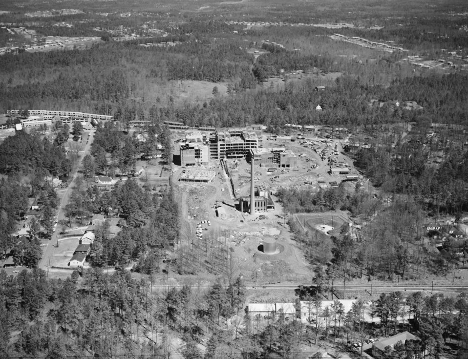 Aerial photograph (facing north) of the CDC, Clifton Road, Atlanta, GA. campus while under construction in 1959.