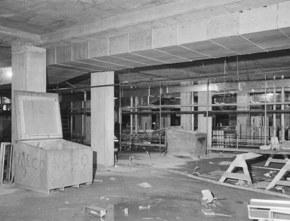 CDC Clifton Road campus under construction in 1959; this was the interior of a lab in Building 1.