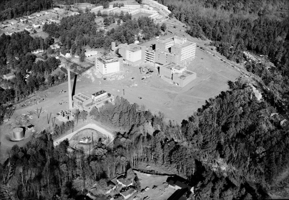 An aerial photo of the CDC (facing northwest) Clifton Road Roybal Campus, Atlanta, GA. while under construction in 1959.