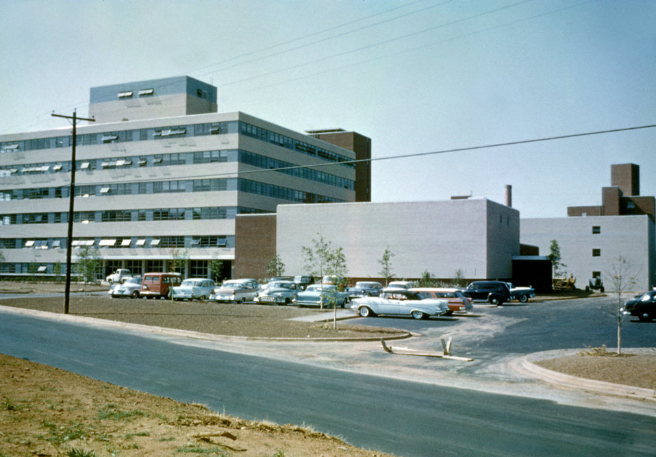 A photograph taken in the 1960s of the facade of CDC, Building 1, Clifton Road, Atlanta, Georgia.