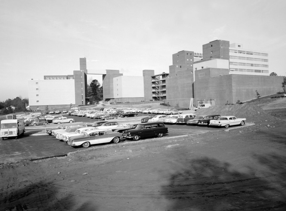 Rear view of the new CDC Buildings on Clifton Road, Atlanta, GA. in 1960 (facing west).
