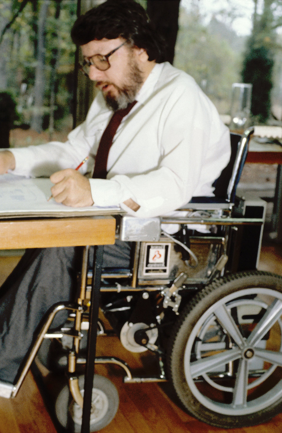 Seated in his wheelchair at his accessibility-enhanced drawing table, architect Ron Mace was in the process of producing new designs, which