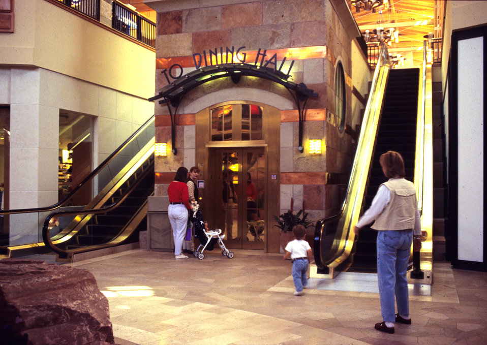 Awaiting modes of conveyance, these mall patrons were about to make use of an escalator, which was situated adjacent to an elevator. Two wom