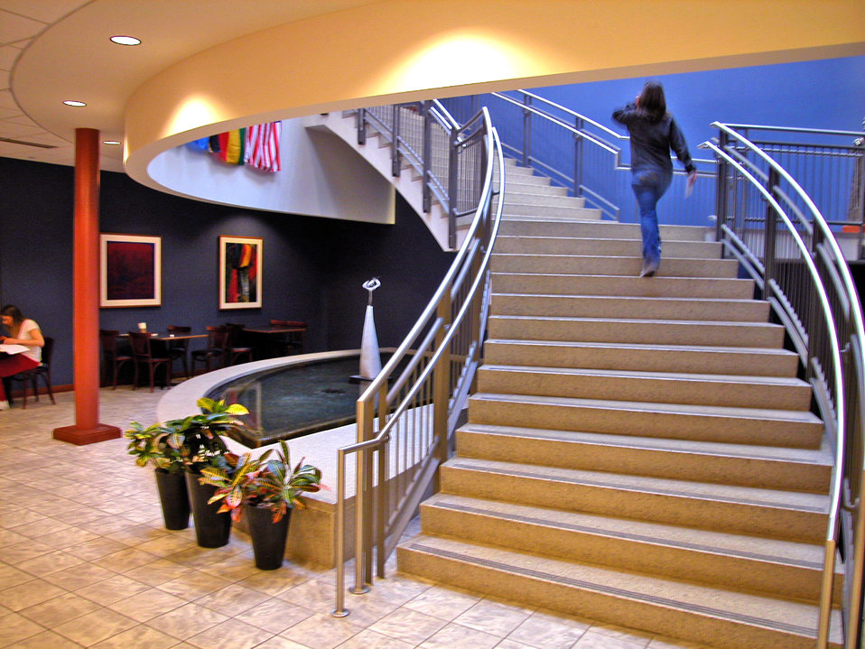This 2006 photograph depicted a woman as she was ascending a publicly-accessible staircase, which had been designed with consideration for t
