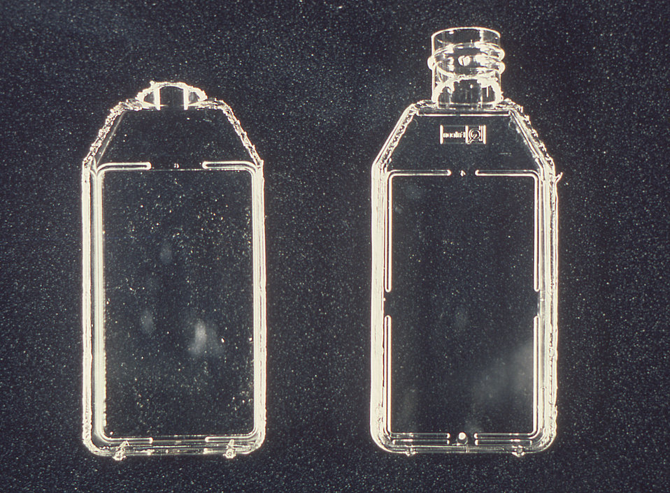 The 25 sq. cm. Falcon� Flask on the left had its top removed using a 'hot' wire during an amniotic fluid test.
