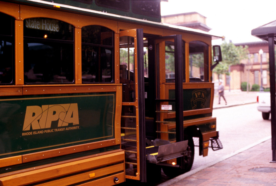 The wheelchair-seated man in PHIL# 9080, had already boarded this antique-style, faux trolley city bus, by using a lift mechanism built into