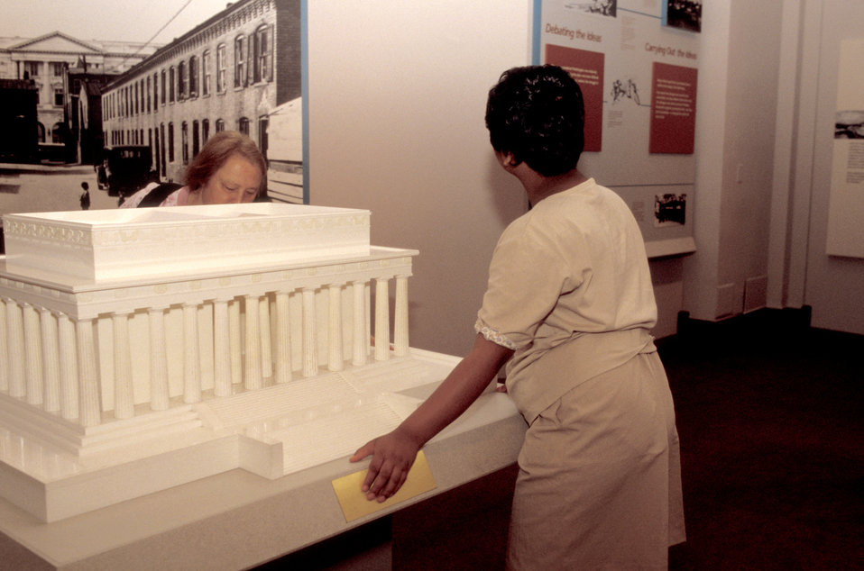 This was the first in a series of eight images (PHIL# 9088 - 9095) revealing the exhibits inside the U.S. National Building Museum, all of w