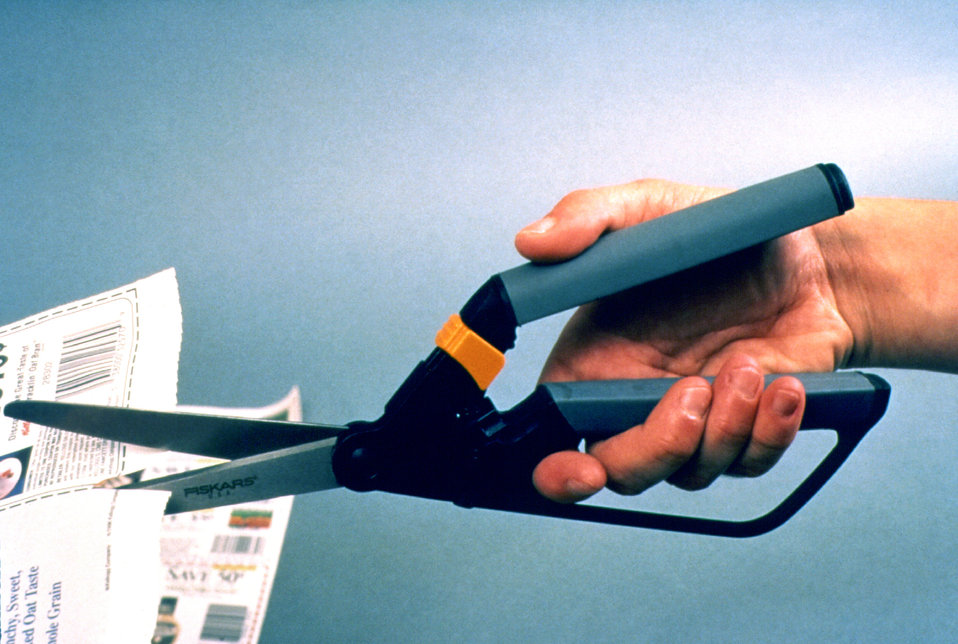 Manufactured by Fiskars�, the 'ambidextrous' scissors depicted in this 1996 photograph were unlike other scissors, for they were designed