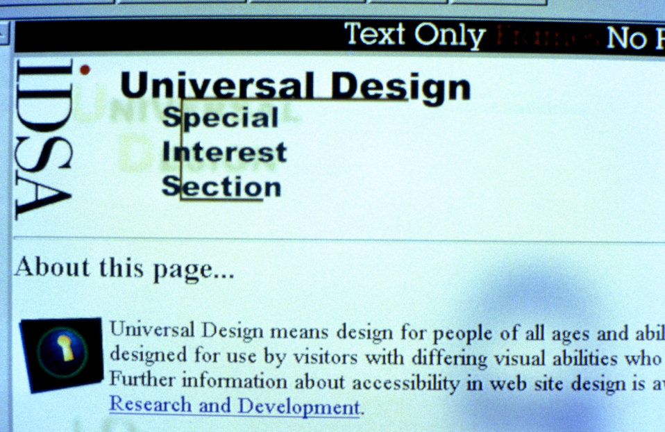 This 1996 image depicted a portion of a web site with a 'Text Only'