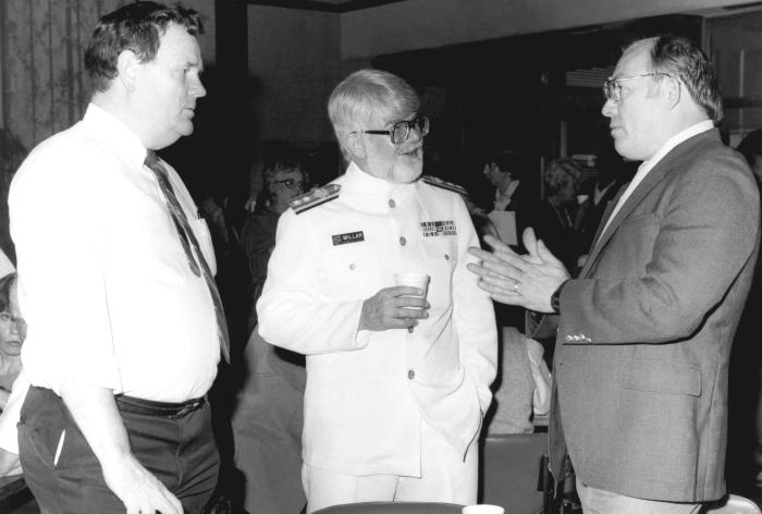 From left to right, this photograph showed Mr. Bill Griggs, J. Donald Millar, M.D., D.T.P.H., and Burton Lincoln during a 1988 CDC event.