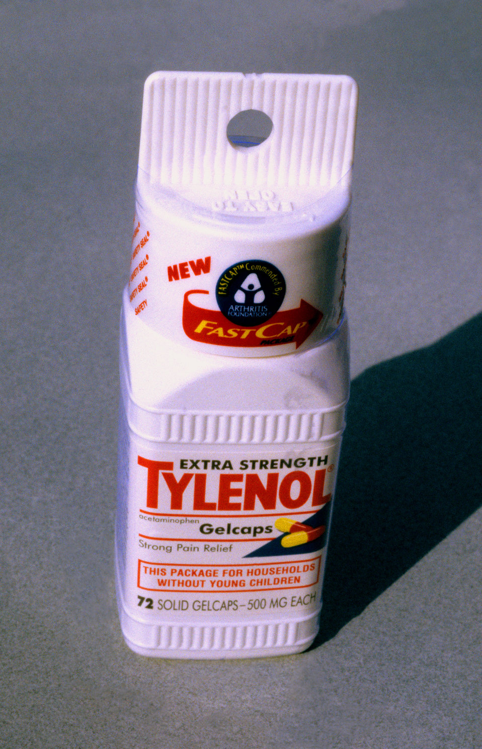 This is one of two PHIL images, (see PHIL# 9132), depicting an example of an easy-open Tylenol� pill bottle. This design made it easier fo