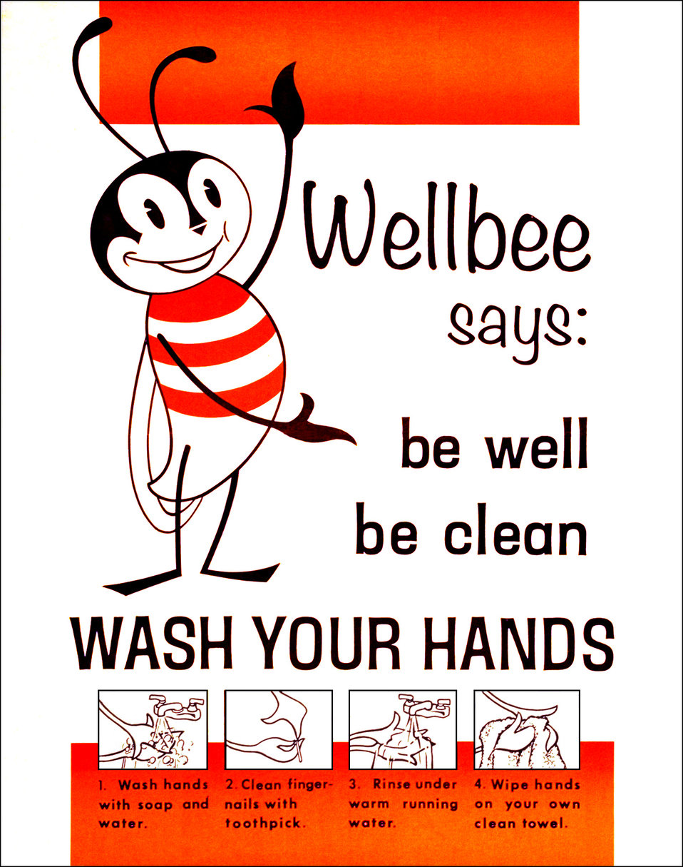 "This 1964 poster featured CDC's national symbol of public health ""Wellbee"" who was reminding the public to ""be well, be clean"
