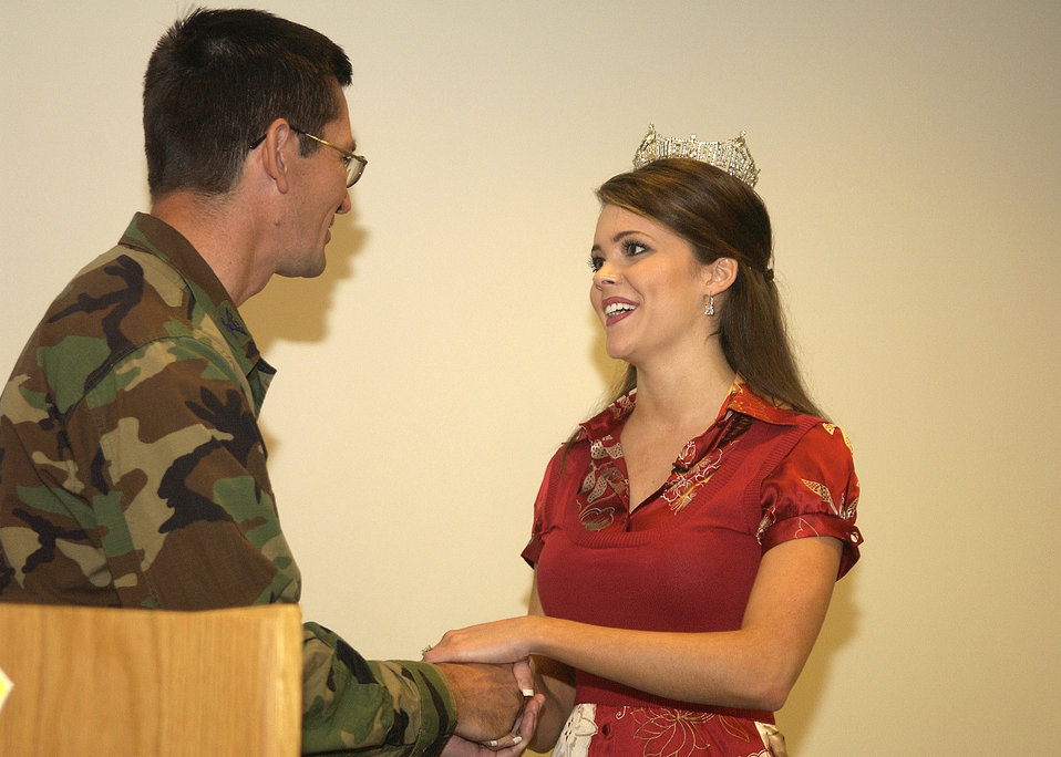 Miss America shares message during base visit