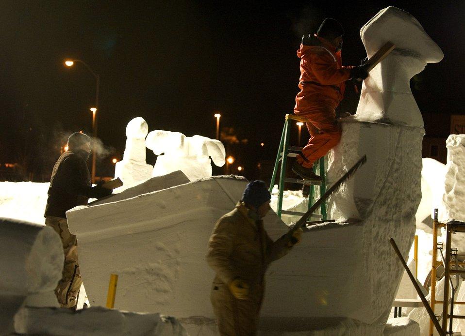 Elmendorf team perfects snow sculpting skills