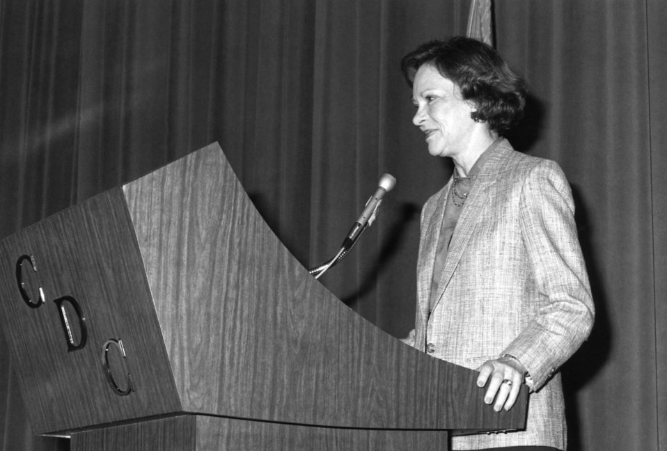 Former First Lady Rosalyn Carter was shown here addressing Centers for Disease Control personnel at a ceremony acknowledging Women's History