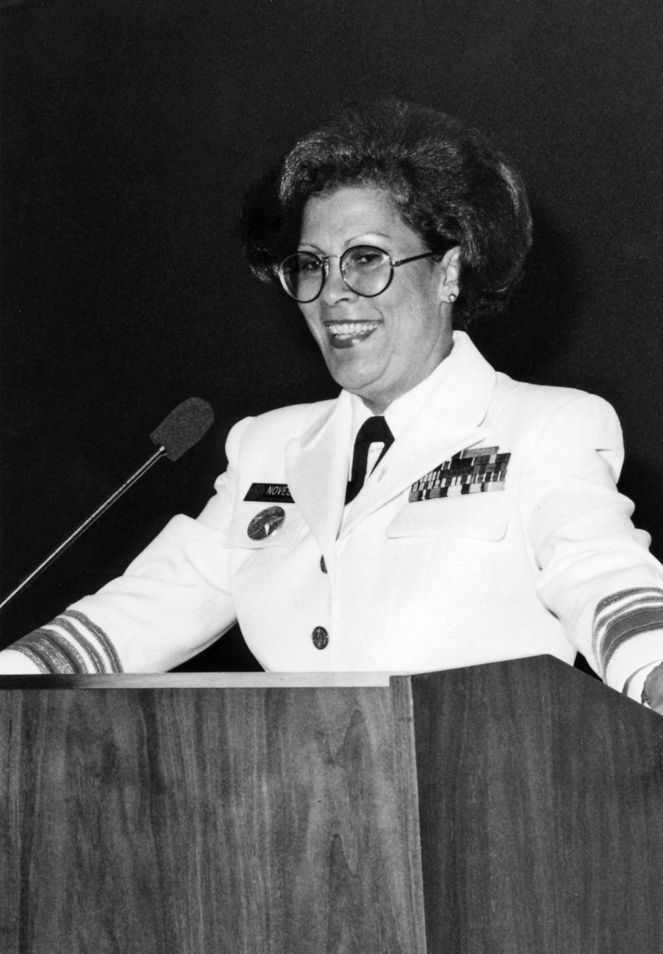 This photograph shows U.S. Surgeon General, Antonia C. Novello at a podium while she addressed Centers for Disease Control personnel during
