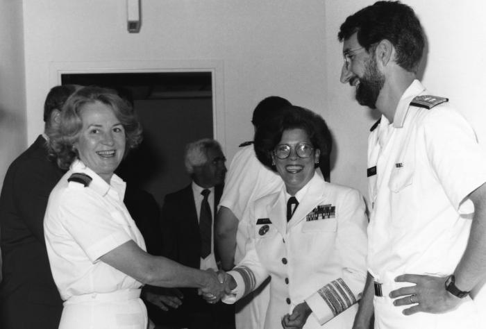 This 1991 photograph showed Mary E. Guinan, M.D., Ph.D. (left) shaking hands with U.S Surgeon General Antonia C. Novello, M.D., M.P.H. (1990