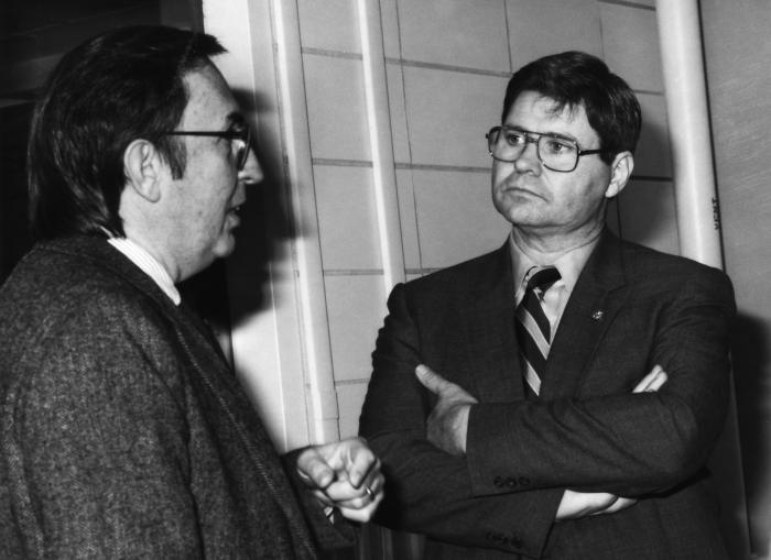 Frederick A. Murphy, D.V.M., Ph.D. (left), was shown as he was greeting Georgia Congressional Representative, Ben Jones (D-GA), on the occas