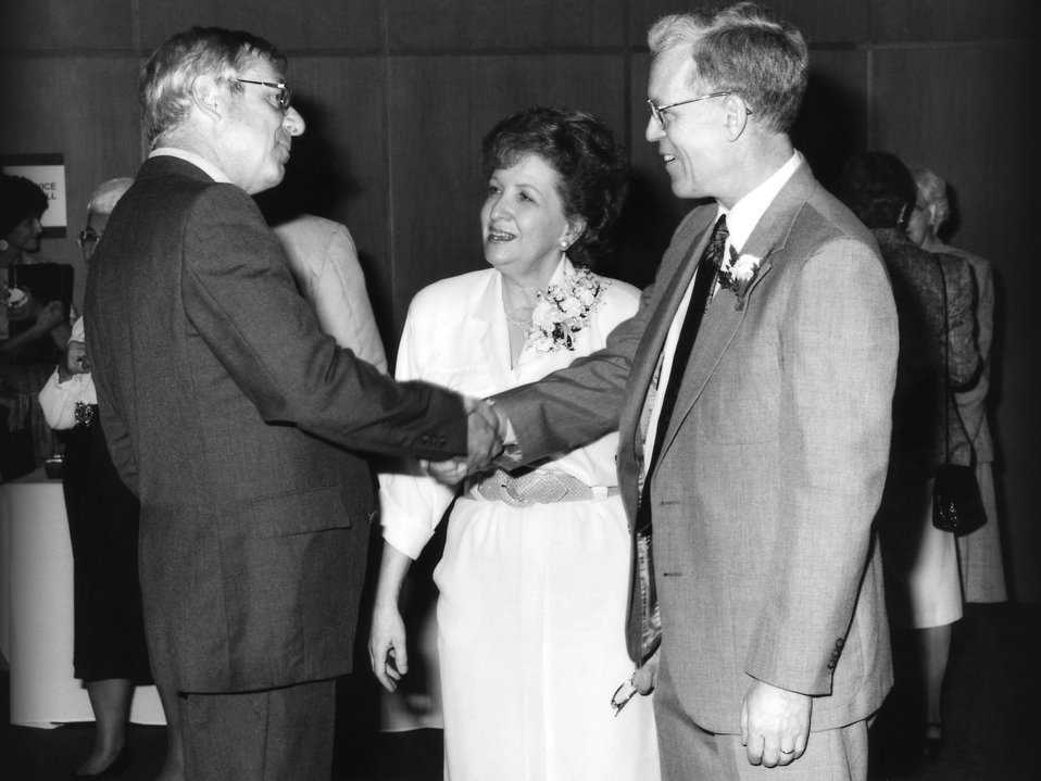 This1989 photograph showed James O. Mason, M.D., M.P.H. (right), shaking hands with Don Berreth (left), former Assistant Secretary for Publi