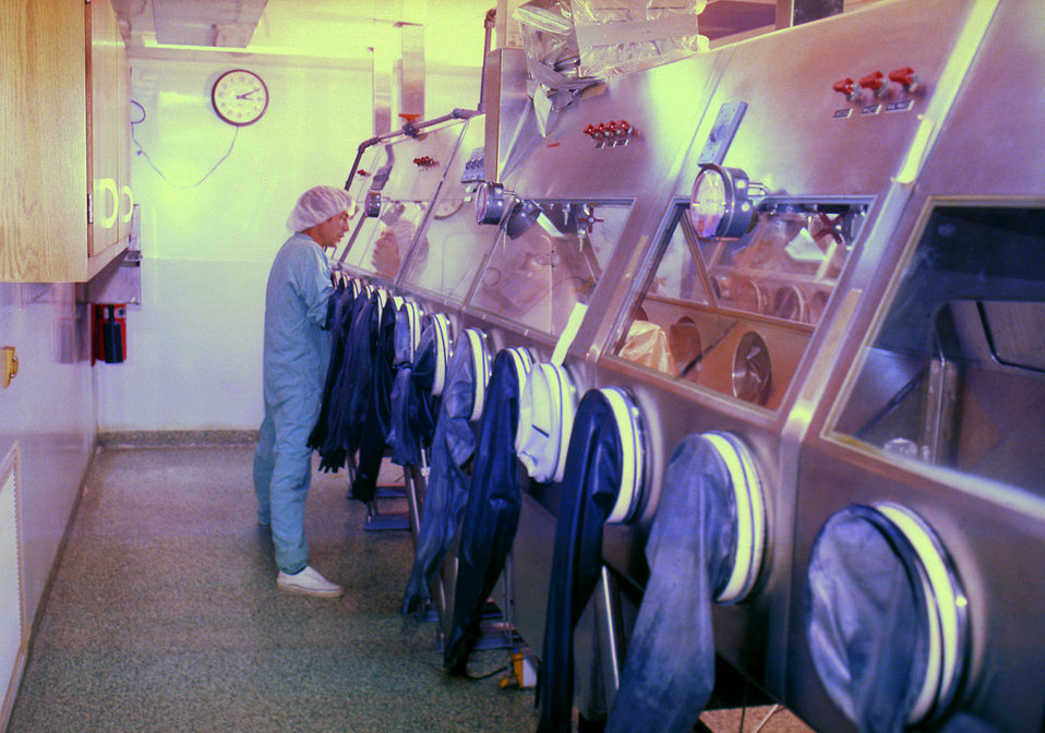 The former BSL-3 containment cabinets in a maximum containment laboratory, prior to the construction of the modern BSL-4 Labs.