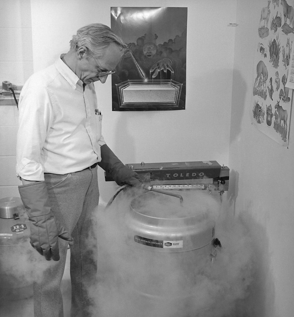 A CDC scientist is adding liquid nitrogen to a thermally insulated container.