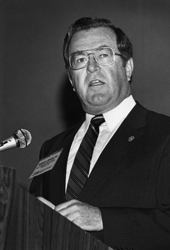 This 1986 photograph showed the former Assistant Secretary for Health, Robert E. Windom, M.D., speaking to Centers for Disease Control emplo