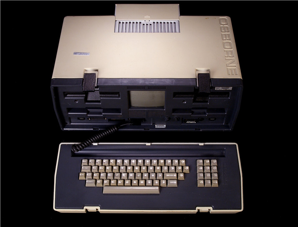 This is the Osborne 1, a 'laptop' computer first used at the CDC in 1981 and was considered the 'first true portable computer'