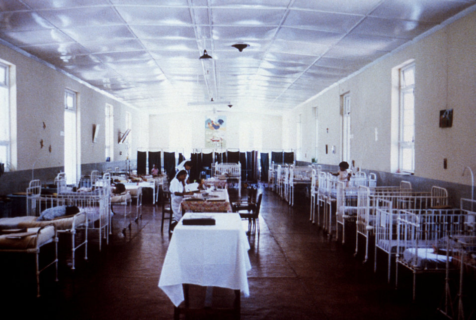 This 1980 photograph depicts the children's ward of the Port Louis, Mauritius Civil Hospital where typhoid patients were housed.