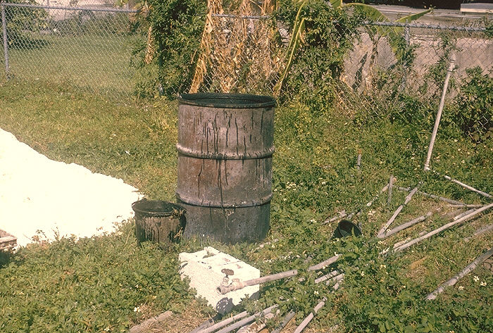 Tar barrel, mosquito breeding site, San Antonio, Texas.