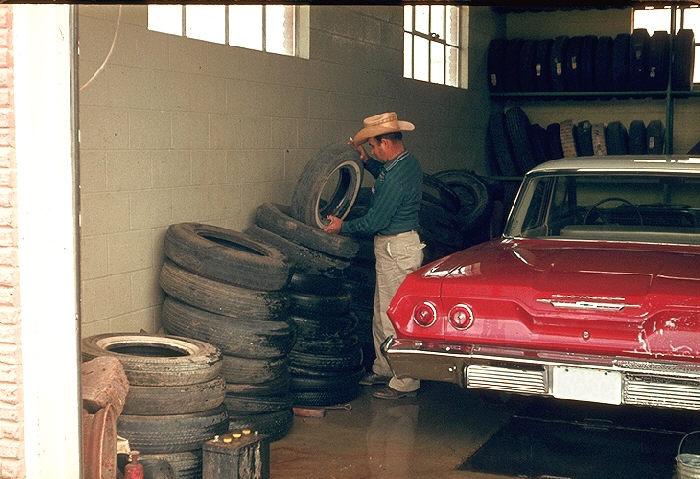 Tires, mosquito breeding site, Texas.